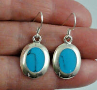 925  Sterling Silver Vintage Oval Turquoise Dangle Earrings 3.8 grams