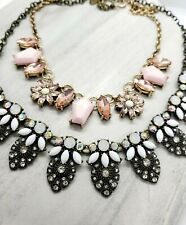2 Charming Charlies Rhinestone Statement Necklaces Pink Aurora Borealis Lot