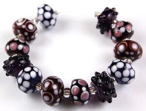 Lampwork Glass Beads Purple White Polka Dot Sputnik Handmade Jewelry Rondelle