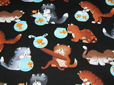 """TIMELESS TREASURE """"FLUFFYS With GOLD FISH BOWL"""" 100% Cotton. by the yard"""