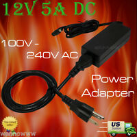 Surveillance Camera 12V 5A DC Power Adapter with power cord for Q-see Zmodo