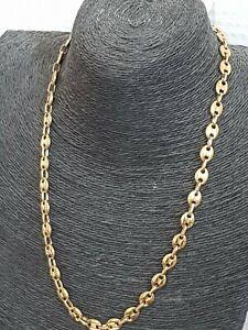 collier homme chaîne maille grain de café dorée acier inoxydable sans nickel