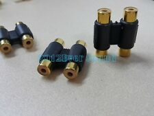 Gold Double RCA Phono Coupler 2 Female to 2 Female Audio Video Connector Adaptor