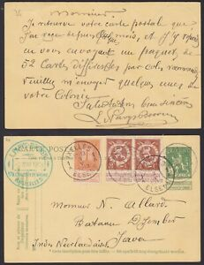 Belgium 1913 Used stamps on Postal Stationery IXELLES to Java NL India......P695
