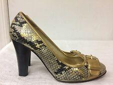 Michael Kors Women gold Leather snake pattern Pumps, High Heels, Shoes Size 8.5M