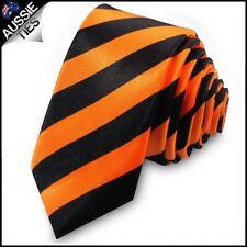 Orange & Black Men's Striped Skinny Tie