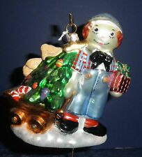 Polonaise Glass Ornament: Raggedy Andy's Wagon, AP1678, New in Box