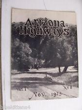 1925 NOVEMBER ARIZONA HIGHWAYS MAGAZINE