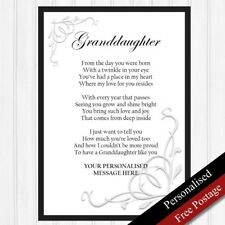 Granddaughter Gifts. Personalised Birthday Keepsakes Granddaughter. PRINT ONLY