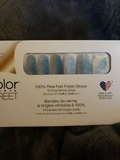 Color Street Nail Polish Strips French Riviera RETIRED blue sliver glitter
