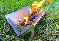 Mini Stainless Steel Flat Fire Pit + BBQ Perfect for Festivals Camping Fishing