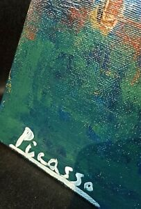 """PABLO PICASSO(1881-1973),Oil Painting on Canvas,signed,""""Blue Period"""" ,NO PRINT!"""