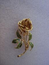 VINTAGE NICE HUGE 18K SOLID YELLOW GOLD ROSE FLOWER GREEN ENAMEL 3D PIN BROOCH