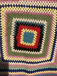 Vintage Multicoloured Crotchet Knit Blanket Throw  142cm x 120cm