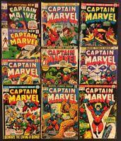 CAPTAIN MARVEL #20-29 Comics BRONZE AGE 1970 Thanos KEY STARLIN 26 27 28 Hulk
