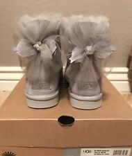 NWT New Women's UGG Size 8 Mini Bailey Bow Tulle Boot GRV Gray