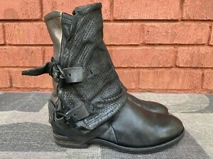 AS 98 Airstep Black Ankle Leather Boho Biker Boots EUR 38 US 7.5-8.
