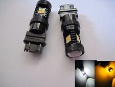2 x  3157 Samsung LED 22W high power 22 dual SMD chips White Amber Switch Back