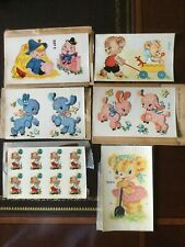 Vintage 6 Duro Decals 1950's Nursery w/envelopes,bears,lambs,H umpty Dumpty New
