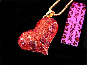 Pendant Enamel Betsey Johnson Rhinestone Charm Heart Chain Jewelry Hot Necklace