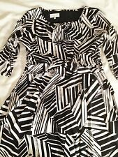 Kasper Knee Length Polyester Black and White Print Wear to Work Dress Size 16