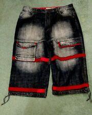 Regal Jeans Gold 40 21 mens cotton blue red shorts straps faded Hip Hop