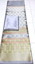 Thai Silk wedding Rayon Fabric Synthetic Tradition dress 2pcs Gray
