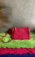 Coach Fuchsia Pink Pebble Grain Leather Pink Studded Credit Card Zip Wristlet