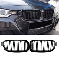 FIT FOR BMW 3 SERIES F30 F31 2012-2016 DUAL LINE GLOSS BLACK KIDNEY GRILLE GRILL