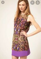Stunning TED BAKER Debio Purple Floral Pattern Shift Tunic Dress Size 1 UK8 VGC