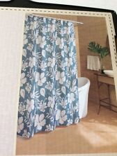 Key West Bold Tropical Teal Green Ecru Floral Hibiscus Fabric Shower Curtain  NEW