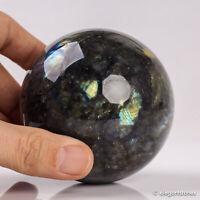 622g 75mm Large Natural Labradorite Quartz Crystal Sphere Healing Ball Chakra