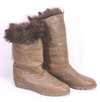C82 Damen Lammfellstiefel Boots Leder braun Gr. 39 Wedge Boho Slouch ungetragen