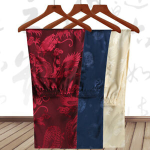 Men's Trousers Chinese Style Dragon Print Tang Suit Pants Kung Fu Tai Chi Casual