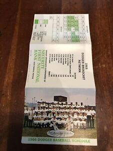 1966 Los Angeles Dodgers Pocket Schedule Security Pacific Bank Ex-MT Team Photo