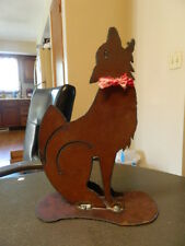 Howling Cut Out Metal Wolf Figurine Lodge Cabin Cowboy Decor