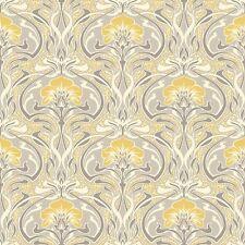 Gris et jaune rétro floral papier peint art deco flora nouveau par couronne M1195
