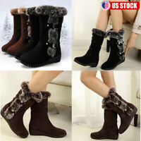 Women Ladies Winter Warm Snow Boots Fur Lined Buckle Casual Mid Calf Shoes Size