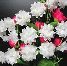 1yd Flower Pearl Lace Edge Trim Vintage Wedding Ribbon Applique DIY Sewing Craft