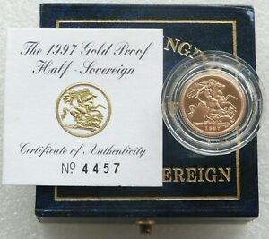1997 Royal Mint St George and the Dragon Gold Proof Half Sovereign Coin Box Coa