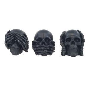3 Totenschädel Skull nichts sehen hören sagen Deko Figur Sammlerfigur  IM25