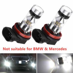 2x H8 H11 H16 6000K White 100W High Power LED Fog Light Driving Bulb DRL