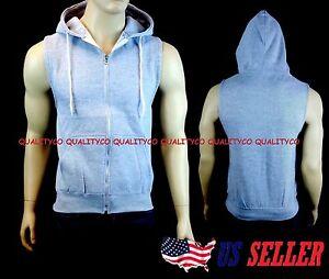 New Men's Gray Vest Zipper Hoodie Tank Top Biker Gym MMA Boxing Workout