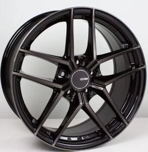 19x9.5 Enkei TY5 5x114.3 +35 Pearl Black Rims Fits Honda Accord 2008-2012