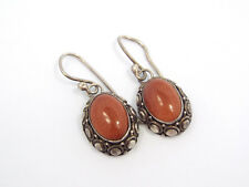 Vtg BA Suarti Sterling Silver Ornate Design Goldstone Glass Oval Dangle Earrings