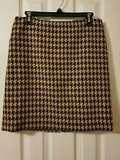 Talbots Brown Beige Houndstooth Wool Blend Pencil Skirt Career Office Work 8P