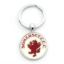 Somerset CCC Retro 60s Crest Design Cloisonné Keyring,25mmDia. @ Only £4.75p !
