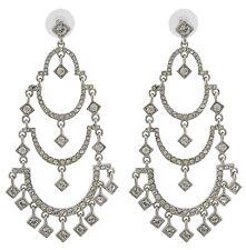 Zest Three-Tier Chandelier Swarovski Crystal Pierced Earrings Silver