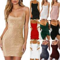 Womens Sexy Strappy Bodycon Mini Dress Summer Clubwear Party Sleeveless Sundress