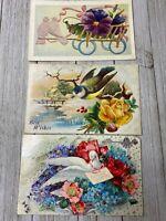 Lot Of 3 Vintage Floral Bird Postcards Post Cards